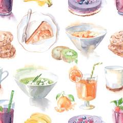 lunch breakfast pattern watercolor