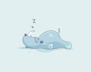 Illustration isolated emoji character cartoon rhinoceros sleeps on the stomach sticker emoticon