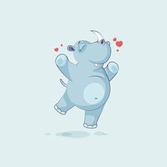 Illustration isolated emoji character cartoon rhinoceros jumping for joy, happy sticker emoticon