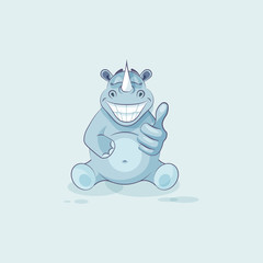 Illustration isolated emoji character cartoon rhinoceros approves with thumb up sticker emoticon