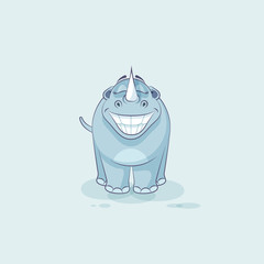 Illustration isolated emoji character cartoon rhinoceros with huge smile sticker emoticon