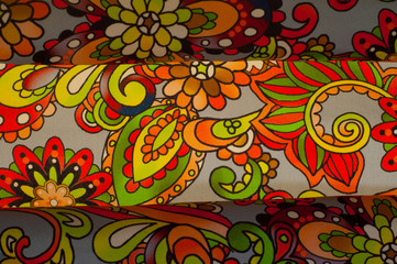 Fabric flowers red green