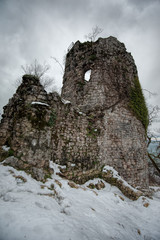Ruins of an ancient tower at the Iverskaya mountain near New Athos in Abkhazia.
