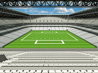 3D render of large American football stadium with white seats and open roof with VIP boxes