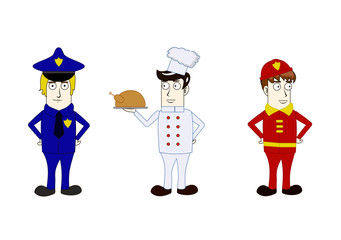 Professions policeman, cook, fireman