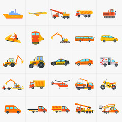 Orange and yellow set of construction and transportation cars and machines vector icon