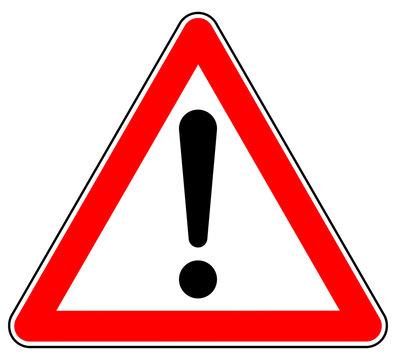 sd44 Schild-Dreieckig - german: Hinweis Zeichen - Achtung Gefahrenstelle - english: attention sign /  hazard warning sign / exclamation mark - triangle red xxl g4925