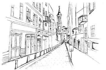 Fototapeta Panorama miasta Nicea. Rysunek ręcznie rysowany na białym tle.  obraz