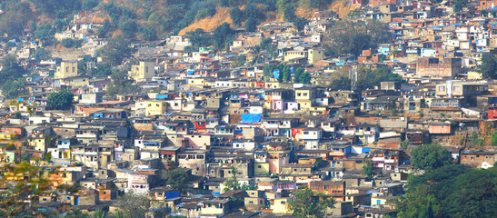 Mumbai, India - December 5, 2015 - Slum view from Vikhroli, 54% of Mumbai population lives in the slums.
