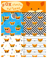 Set of animal seamless patterns with fox , vector , illustration