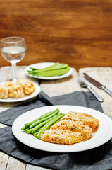 Bread crumbs cheese herbs baked cod with green beans