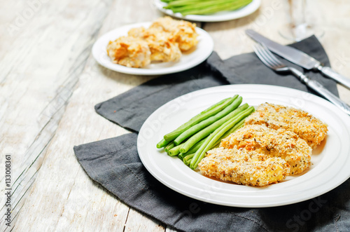"""Bread crumbs cheese herbs baked cod with green beans ..."