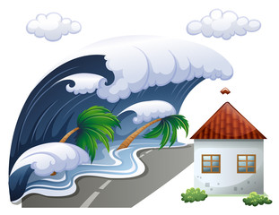 Tsunami scene with big waves and house
