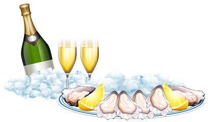 Fresh oysters and champagne bottle