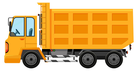 Dumping truck on white background
