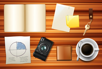 Book and other accessories on wooden table