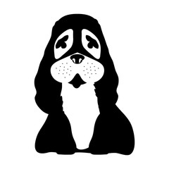 silhouette of dog animal over white background. vector illustration