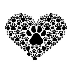 dog footprints in heart shape over white background. animal and pet love design. vector illustration