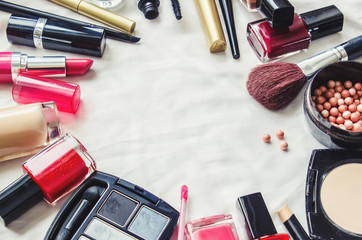 Decorative cosmetics on a white background. Selective focus.