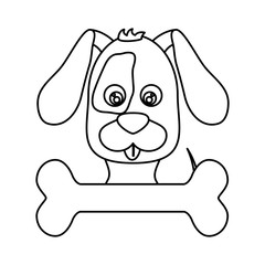 cute dog  and bone icon over white background. vector illustration