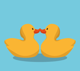 cute ducks toy icon vector illustration design
