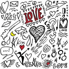 set grunge hearts, Valentine day, icon