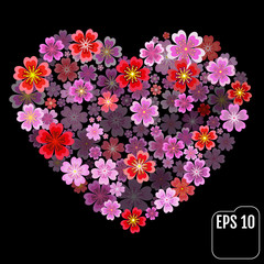 Valentines Day Heart Made of Red and pink Primroses Isolated on