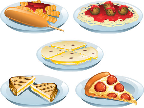 Kids Food Menu Items including, corn dog, spaghetti and meatballs, quesadillas, grilled cheese and pepperoni pizza.