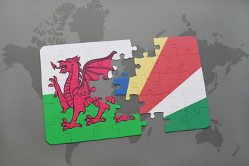 puzzle with the national flag of wales and seychelles on a world map