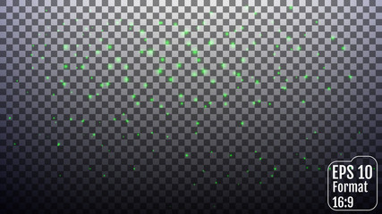 Vector green glitter particles background effect for luxury gree