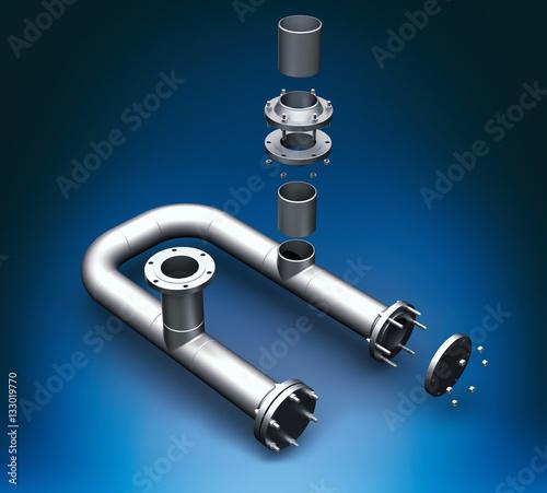Engineering design  Pipe fitting - welding spool (3D model