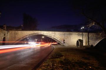 Car traffic on the Pont Saint Benezet in Avignon, France