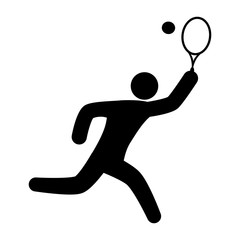 tennis player with racket and ball icon over white background. vector illustration