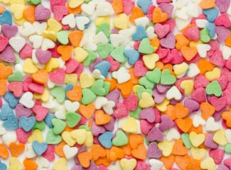 Colorful sugar sprinkles shaped heart for ice cream cake dessert