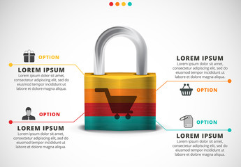 Shopping Infographic with Lock Illustration
