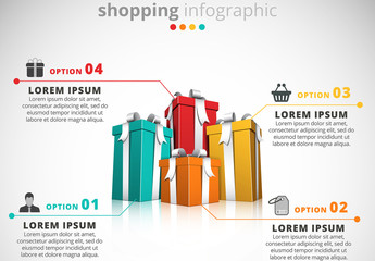 Shopping Infographic with Gifts Illustration