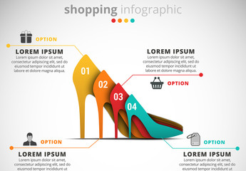 Shopping Infographic with High Heeled Shoe Illustration