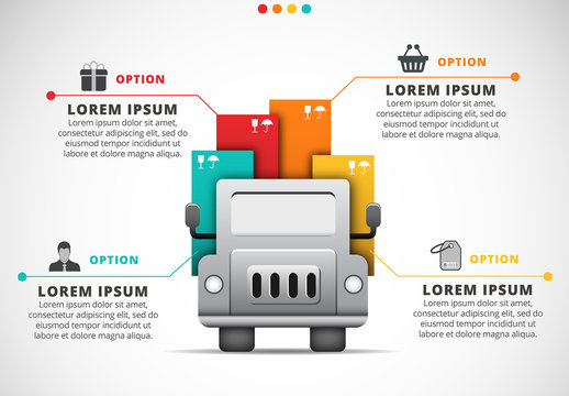 Shopping Infographic with Delivery Truck Illustration