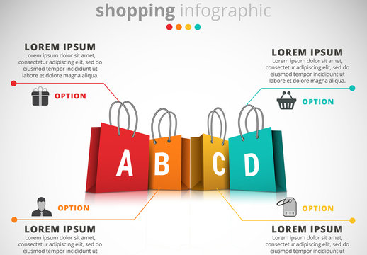 Shopping Infographic with Bags Illustration