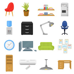 Office furniture and interior set icons in cartoon style. Big collection of office furniture and interior vector symbol stock illustration