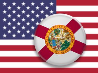US State Button: Florida Flag Badge, 3d illustration on blurred USA flag