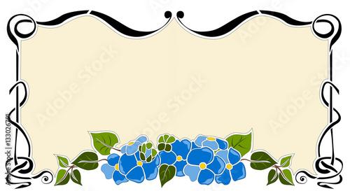 Cornice Liberty Rettangolare Fiore Blu Immagini E Vettoriali