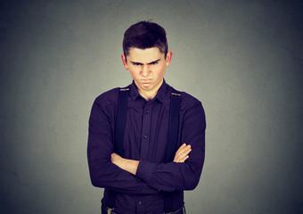 Angry grumpy man looking very displeased