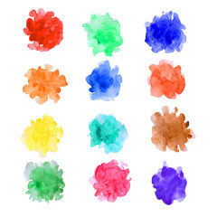 watercolor paint dab isolated on white background. Abstract free designs clip art background. Paint splashes with color mixture overflow on white paper for web and print
