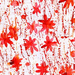 watercolor seamless pattern paint dab isolated on white background. Red floral print. Abstract free designs clip art background. Paint splashes color mixture overflow on white paper for web, print