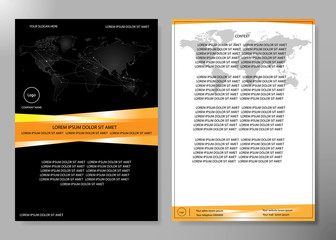 Minimal flyers report business magazine poster layout template. Brochure design template vector. Square layout in cover book portfolio presentation poster. World map design on A4 brochure layout.