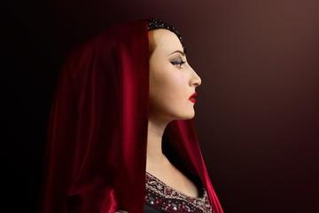 Renaissance woman photo. Beautiful Renaissance woman in a red head scarf profile view portrait photo.