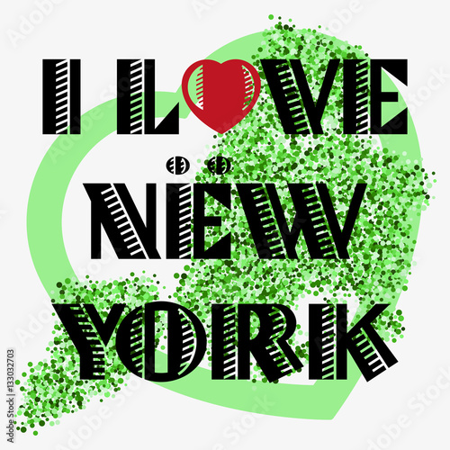 Print with lettering about New York and green glitter