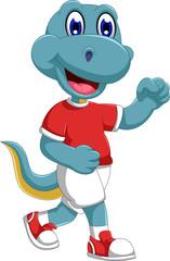 funny dinosaur cartoon jogging