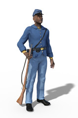 African American Civil War Union Soldier Standing